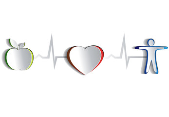 Healthy heart symbols. Paper design