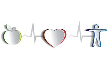 Healthy heart symbols. Paper design