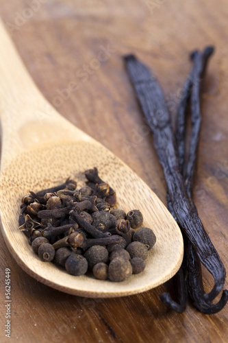 Gewürze auf Holzlöffel