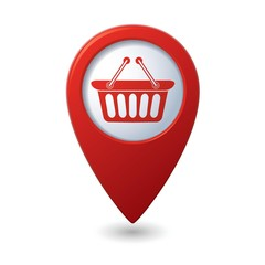 Map pointer with shopping basket icon