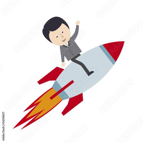 Geschäftsmann, Erfolg, Aufsteigen, Rakete