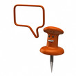 Fun orange thumbtack and speech bubble