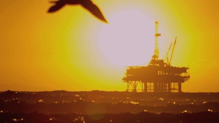 Coastal Oil Production Platform Sunset