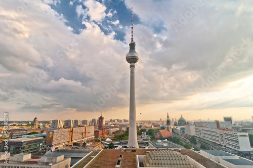 view over television tower and Berlin downtown