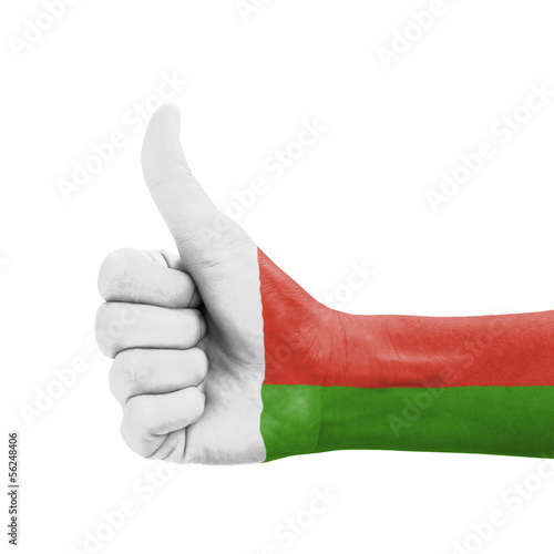 Hand with thumb up, Madagascar flag painted