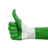 Hand with thumb up, Nigeria flag painted