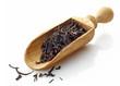 wooden scoop with black tea Assam