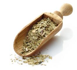 wooden scoop with yerba mate tea