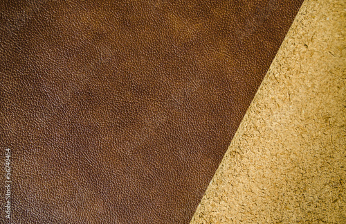 front and reverse of natural aged leather