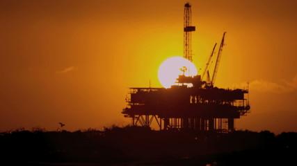 Oil Rig Platform Offshore Sunset Slow Motion