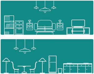 Interior Banner set .with furniture illustration