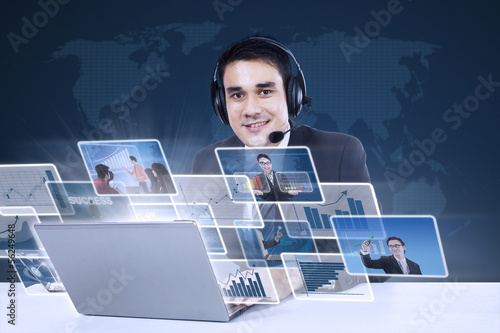 Customer service with internet online on blue
