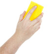 Female hand holding a cleaning sponge
