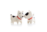 two Dog Figurine on White Background