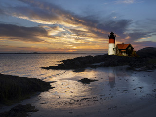 Lighthouse at sunset, massachusetts, USA