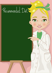 dietologa sfondo rosa