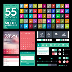 Set of flat design icons, elements, widgets