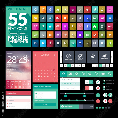 Set of flat design icons, elements, widgets