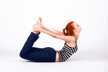 Young woman in back bends pose
