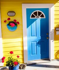 Yellow Blue Door Houseboat Victoria