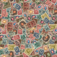 Seamless Texture of Postage Stamps.