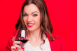 Young brunette with red wine