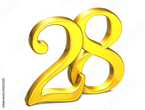 3D Gold Number twenty-eight on white background