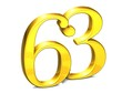 3D Gold Number sixty-three on white background