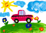 Fototapety child's drawing. car rides on a meadow
