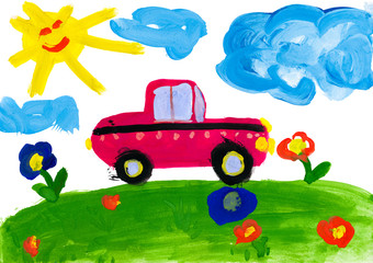 child's drawing. car rides on a meadow