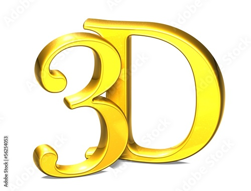 3D Gold Three Dimensional on white background