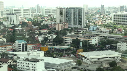 look through the city view from office window