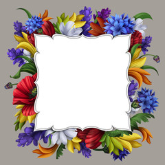 blank message card with flowers frame