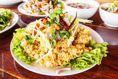 Crispy catfish salad with green mango and vegetable