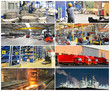 Collage panorama of industrial plants