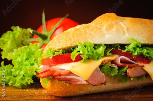 Foto op Plexiglas Snack Sandwich closeup detail