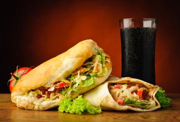 Turkish kebab, shawarma and cola drink