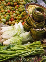 Green vegetable on asian market