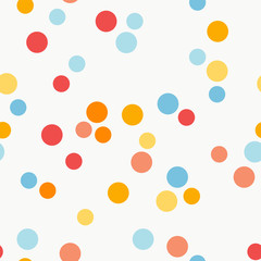 Seamless vector pattern with colorful dots on light background
