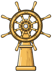 Captain's wheel cartoon illustration
