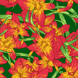 Seamless colorful pattern with lilies