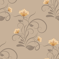 Seamless beige floral vector wallpaper pattern.