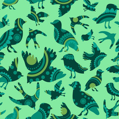 Seamless pattern with decorative bird silhouettes