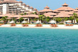 Beach of the luxury Thai style hotel on Palm Jumeirah man-made i