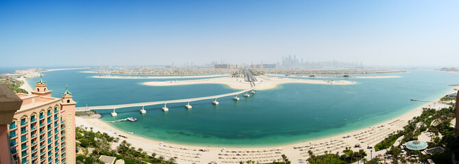 Panoramic view on Jumeirah Palm man-made island, Dubai, UAE