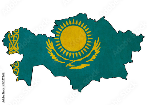 Kazakhstan map on Kazakhstan flag drawing