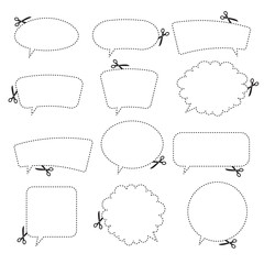 Scissors cutting speech bubbles. Vector illustration.