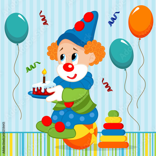 birthday baby, clown - vector illustration