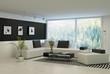Modern living room with huge floor to ceiling windows