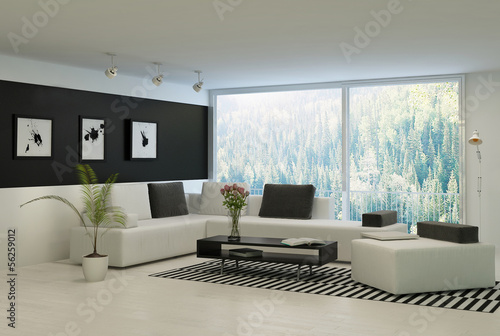 Modern living room with huge floor to ceiling windows